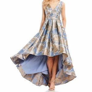 Eliza J floral printed high low gown